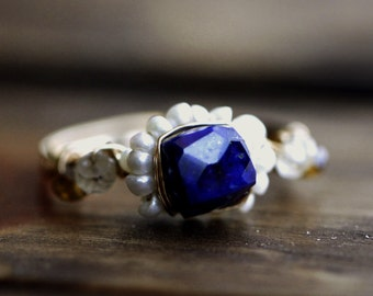 Lapis Ring | Gold Ring |  Pearl Ring |  Multi Gemstone Ring | Lapis Lazuli | Moon and Stars | size 7