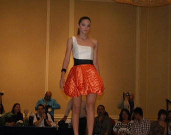 one-shoulder and balloon skirt party dress