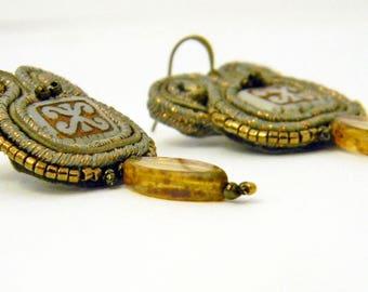 """Orecchini Soutache """"Mistery""""  Nelle sfumature del rame e del bronzo -Orecchini  piccoli e leggeri cuciti, non incollati!"""