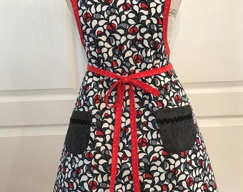 Classy Vintage Style Womans Apron, Dark Gray Red Art Deco Floral Print, Red Bias Trim with Waist Ties, Gift for Mom, Full Bib Apron Coverup