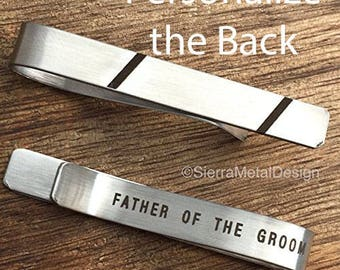 Father of the Groom Tie Clip Tie Bar Father of the Groom Tie Bar Parent Wedding Tie Clip Engraved Tie Clip Father Gift for Father in Law