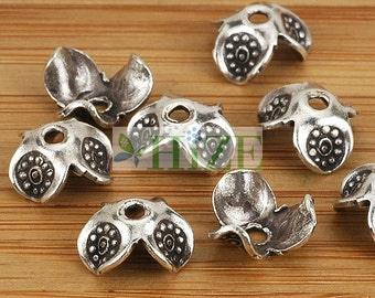 HIZE SB264 Thai Karen Hill Tribe Silver Flower Petal Bead Caps 9mm (16)