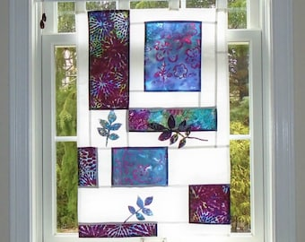 Lavender Abstract with Leaves ~Fiber Art Batik Pojagi Patchwork Window Treatment~Stained Glass-Look ~ bohemian cafe / hippie curtain