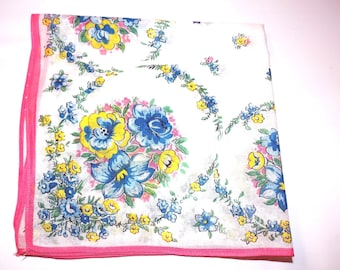 Vintage Pink and Blue Flower 1950s Handkerchief