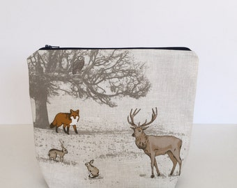 PRE-ORDER LISTING - Woodland Creatures craft project bag || knitting project bag || multipurpose storage bag