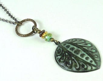 Tribal Boho Style Necklace - Patina Jewelry, Art Deco Necklace, Verdigris