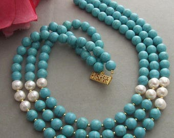 3-strand pearl and turquoise stone necklace3