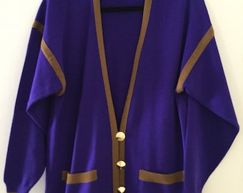 Size 6, 70s PURPLE & BROWN Vintage Cardigan with Glossy Gold Chunky Conical Buttons, by Lilli Ann Collections