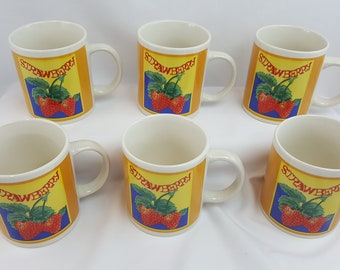 Gibson Housewares China Strawberry Coffee Mugs Cups 10oz. (Set of 6)