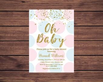 Gender Reveal Pink Blue and Gold Baby Shower Baby Shower Invitation Gender Neutral Gender Reveal Polka dots Digital JPEG PDF Printable 818