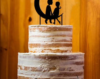 Personal Cake Topper Bride and Groom Cake Topper,  Custom Wedding Cake Topper, Moon Cake Decoration, Engagement Cake Topper - AT088
