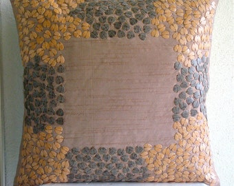 Textured Leaves - Pillow Sham Covers - 24x24 Inches Silk Dupion Pillow Sham Cover with 3D Leaf Shape Beads