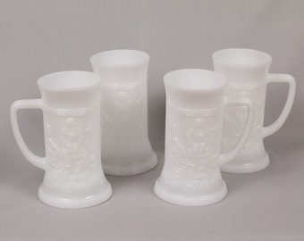 Vintage beer mugs Set of 4 milk glass beer steins Federal glass Comforable handles German design Milk glass vase Excellent condition