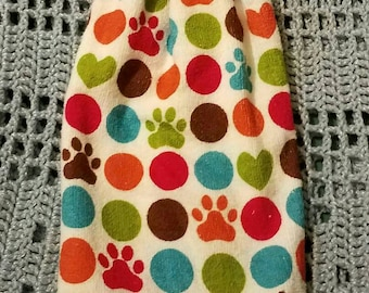 READY TO Ship--Crochet Kitchen Towel--Double Layer Hanging Towel--Polka Dots and Pawprints