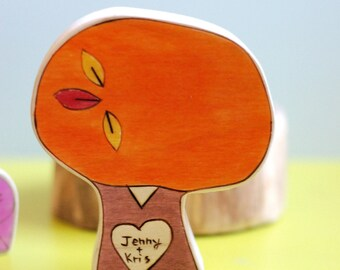 Personalized Wedding Cake Topper, Love Gift Fall, Sweetheart Tree, Four Inch