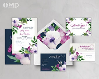 Printable Wedding Invitation - Garden Blooms - Customized Wedding Suite - DIY Invitation Set - Elegant Wedding Invitation Suite Purple Navy