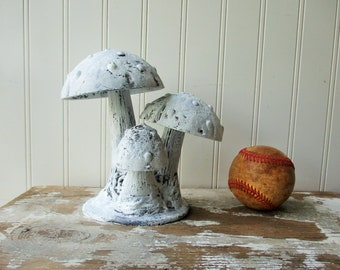 Cast iron mushroom statue triple polka dotted mushrooms metal fungi figurine woodland decor toadstool White distressed paint