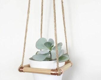 Copper and Jute Hanging Planter, Plant Hanger, Plant pot, Planter