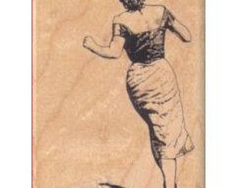 Lady Stamp, Running Lady, Viva Las Vegas Stamps, Rubber Stamps, Cushioned