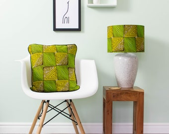 African lampshade and pillow set - African print lampshade - African print pillow - throw pillow - scatter cushion - Greenery Maze