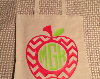 Custom Apple Monogrammed Tote Bag - Perfect for teachers, principals, educators or administrators! {or for people who just like apples}