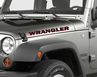 Side Hood Rubicon Style Custom Two Color Text Jeep Wrangler (8 Fonts Available)