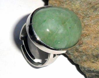 Green Aventurine Gemstone Ring Adjustable earthegy #2102
