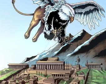 "Griffin over Delphi Greek Mythology Creature Print  11x17"""