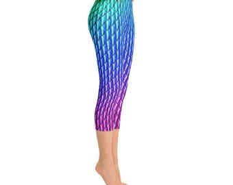 Mermaid Scales Costume Capri Leggings