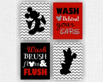 INSTANT DOWNLOAD Mickey Mouse and Minnie Mouse bathroom Wall Art Printable, Wash brush floss flush, Wash behind your ears, Set of 4, 8x10
