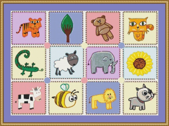 Kiddies Puzzle Cross Stitch Pattern /Digital PDF Files /Instant downloadable