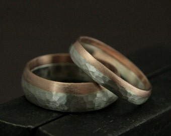 Living on the Edge Wedding Set - 14K Hammered Rose Gold Edged Wedding Bands - Unique His and Hers Wedding Rings - Rustic Wedding Bands