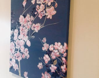 Original Acrylic Painting on canvas - Flowers with gold-leafing details