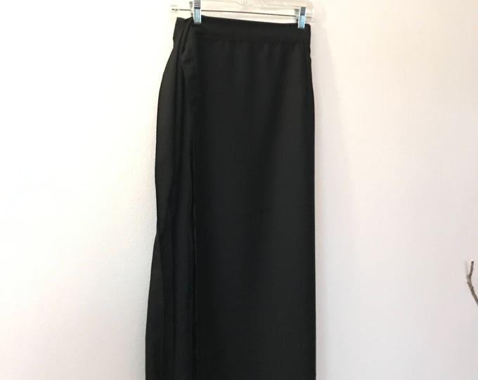 black dobbie semi sheen wool wrap skirt ready to wear / wool wrap skirt / dressy skirt / black wrap skirt / light weight wool wrap skirt