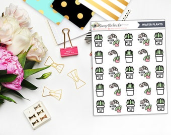 Water Plants Planner Stickers | for use with Erin Condren Lifeplanner™, Filofax, Personal, A5, Happy Planner