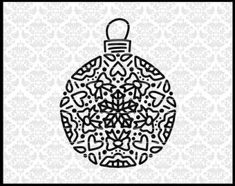CLN0739 CHristmas Ornament Intricate Hand Drawn Mandala SVG DXF Ai Eps PNG Vector INstant Download Commercial Cut File Cricut Silhouette
