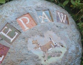 Custom - Pottery Garden Stone or Burial Grave Marker - Stoneware Clay - Pet Memorial - DEER
