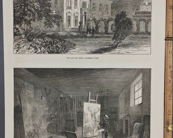 The Late Sir Edwin Landseer's Studio 1874. Painting a Large Buck. Beautiful Mansion. Large Antique Engraving Around 11x16.