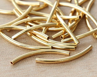10 pcs Curved Tube Beads, Gold Plated, 30mm - eTC02GP-30