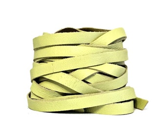 Pale Green Leather Strip 7mm  / Green Lambskin Strip / Lambskin Strips / Leather Strips / Green Lambskin Strips / Bracelet Leather