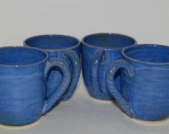 SET of 4 handmade blue pottery cups. Handmade ceramic cup set.