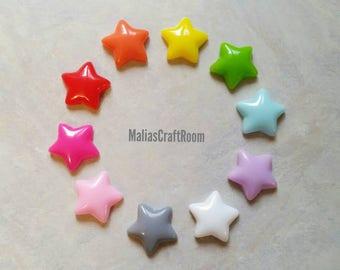 10pcs Puffy Star Cabochons 17mm