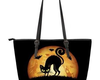 Black Cat Halloween Leather Handbag - Large & Small