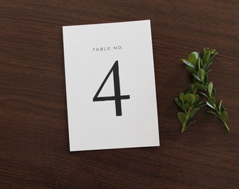 Classic Table Numbers, wedding table number, modern table numbers, Serif table number, black and white table number, simple table numbers