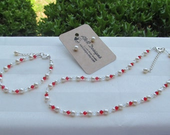 Bridesmaid Jewelry Set Red Crystals and Ivory Pearls Flower Girl Jewelry Set