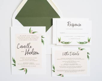 Greenery Wedding Invitation, Eucalyptus, Greenery Invite:  CAMILLE.