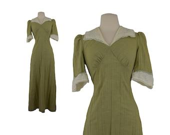 70s Maxi Dress, 1970s Green Boho Chic Maxi Dress, Cotton & Lace Maxi Dress, Empire Waist Dress, Festival Dress, Gauzy, XS Small Size 0-2