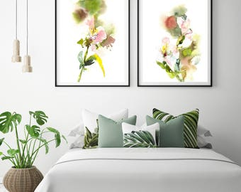 Abstract botanical art print set, set of 2 fine art prints, alstroemeria flowers watercolor painting prints, modern abstract wall print set