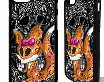 Fox sugar skull foxes tattoo day of the dead graphic phone case cover for iphone 4 5 5s 6 6s 7 8 8 plus X