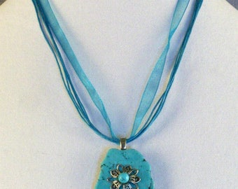 Turquoise Slab Pendant Necklace // Embellishments // Filigree Flower // Turquoise Bead ***WAS 24.00